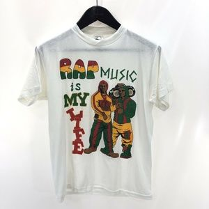 RAP MUSIC IS MY LIFE S Small T-shirt White Vintage